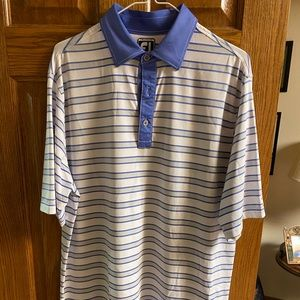 FootJoy Athletic Fit - White/Gray Golf Shirt Large